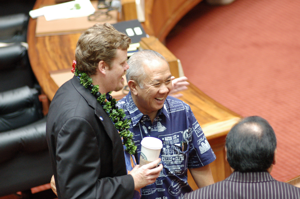 Speaker Emeritus Calvin K.Y. Say and Representative Angus McKelvey having a laugh on the floor of the Hawaii State House of Representatives. 😅  Speaker Say's warm personality is a quality that has been helpful in bridging differences between individuals, factions, parties, and interests. ❤️  If elected to the Honolulu City Council, Speaker Say will continue bring people together for the betterment of the City and County of Honolulu.