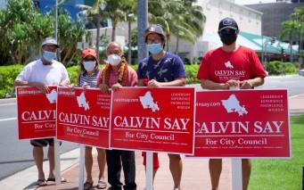 DSCF0931 Calvin K.Y. Say sign wavers