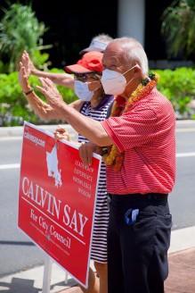 DSCF0934 Calvin K.Y. Say sign waving