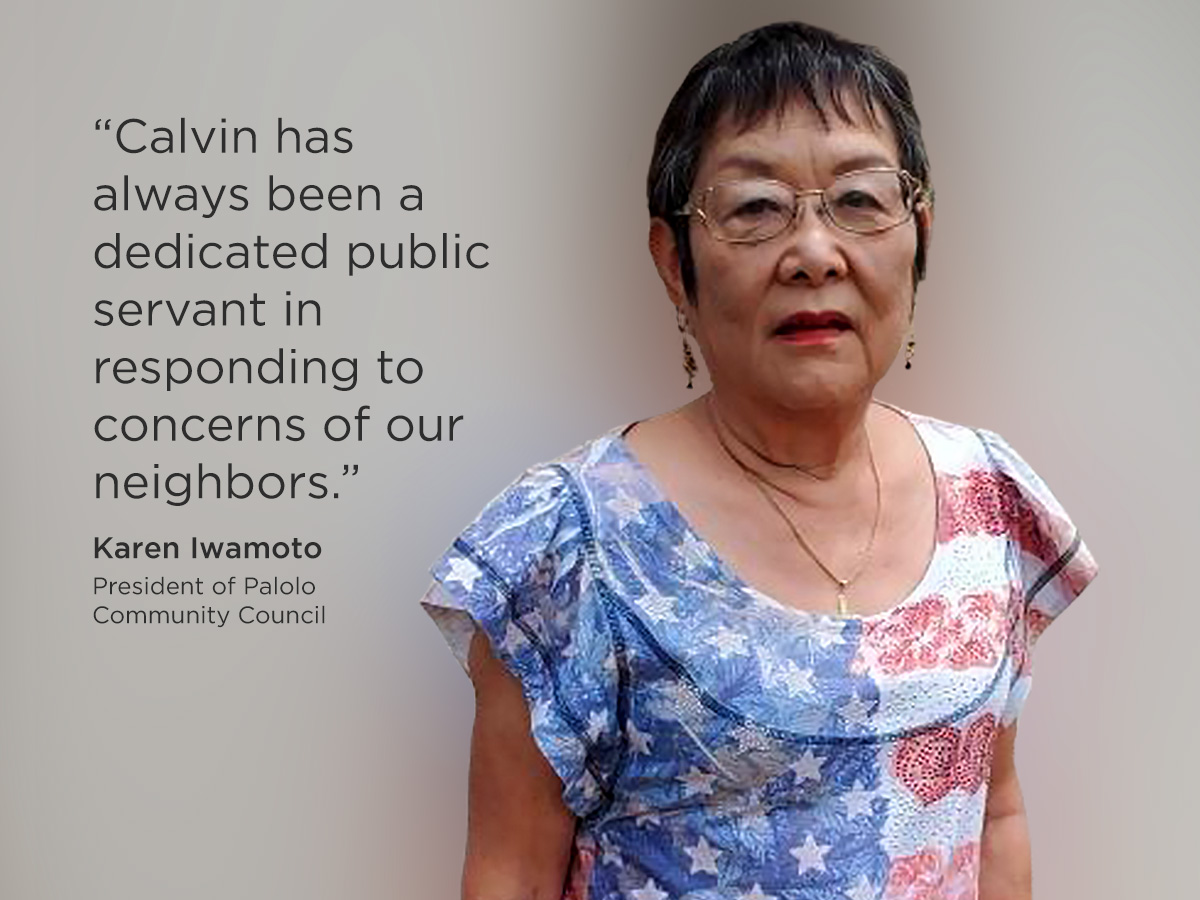 Karen Iwamoto's kind message in support of Speaker Emeritus Calvin K.Y. Say for Honolulu City Council District V