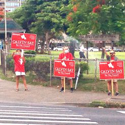 Friends for Say sign wavers 2